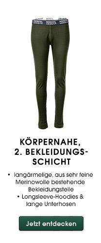 Körpernahe, 2. Bekleidungsschicht langärmelige, aus sehr feine Merinowolle bestehende Bekleidungsteile Longsleeve-Hoodies & lange Unterhosen