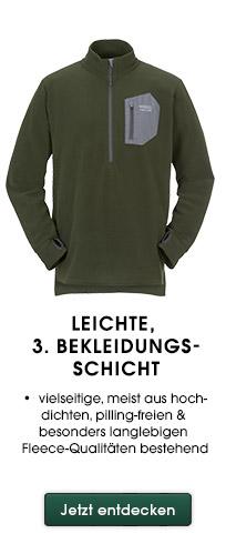leichte, 3. Bekleidungsschicht vielseitige, meist aus hochdichten, pilling-freien & besonders langlebigen Fleece-Qualitäten bestehend
